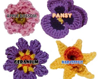 crochet flower pattern flower applique PDF crochet flower easy crochet pattern