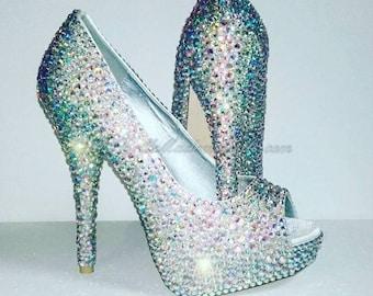Genuine Swarovski Crystal Shoe's, Crystal Bridal Shoes, Crystal Wedding Shoes, Wedding Shoes, Bridal Shoes, Strass, Swarovski Bridal Shoes.