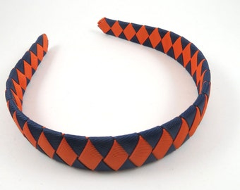 Orange and Blue Headband - Orange Headband - Navy Blue Headband - Ribbon Woven Braided Headband - Child Teenager Adult Headband