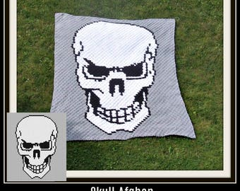 Skull Afghan C2C Graph and Written Word Chart