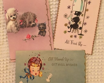 Vintage Get Well Cards Lot, Unused Cards, Vintage Cards, Poodles