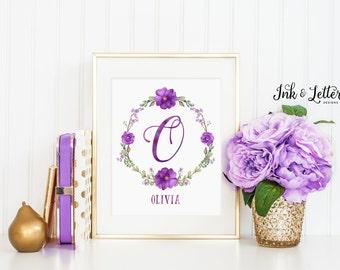 Purple Nursery Wall Art - Personalized Name Print - Custom Girl Nursery Decor - Personalized Baby Girl Gift - Digital Printable - 8x10