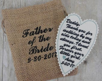 Gift for Father of the Bride - Embroidered Tie Patch - Gift for Groom - Father of the Groom - Wedding Party Keepsake - Embroidery Gift -A1