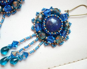 earrings, blue earrings-embroidered, bead embroidery, lapis lazuli, whimsical jewelry, embroidered jewelry