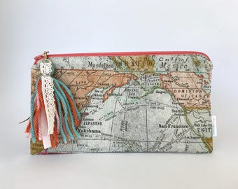 Map Zipper Pouch | World Map Cosmetics Bag | Travel Pouch | Pencil Pouch | Vintage Map Fabric Bag