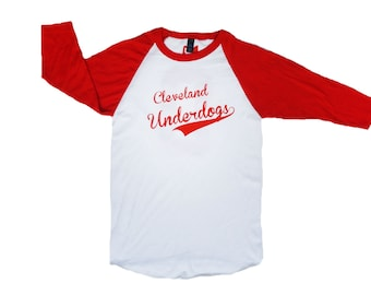 Jersey fin de Baseball Raglan Tee - Cleveland outsider (blanc et rouge)