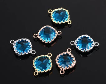 2pcs framed glass connector,  faceted glass charm/pendant/connector , gold/rose gold/silver plating, 18MM*13MM
