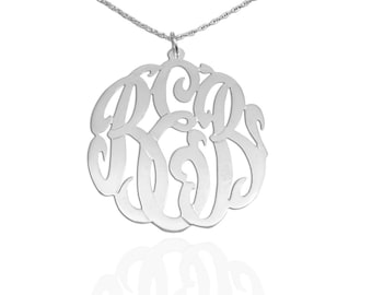 Personalized Monogram Necklace - 1.25 inch Sterling Silver - Initial Pendant - Original Monogram - Custom Monogrammed Necklace - Made in USA