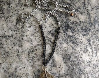 Vintage Feather Beaded Chain Necklace