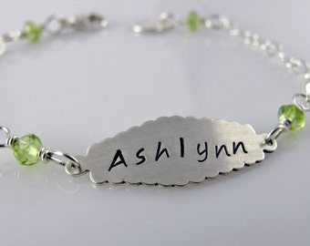 Ashlynn Personalized Child's Bracelet - Sterling Silver, Peridot, Gemstone Beads