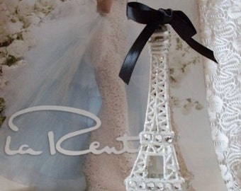 White Paris Eiffel Tower Cake Topper MEASURES 5 & 1/2 INCHES TALL We Ship Internationally