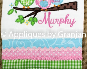 Owls on Branch Burp Cloth with Ruffles and Eyelet
