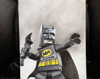 Original Colored Pencil Drawing of LEGO Batman from The LEGO Movie (NOT a print)