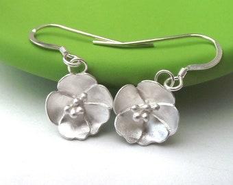 Flower Hook Earrings, Primula Earrings, Rose Drop Earrings, Sterling Silver Earrings, Floral Earrings, Gardener Gift, Birthday, Buttercup