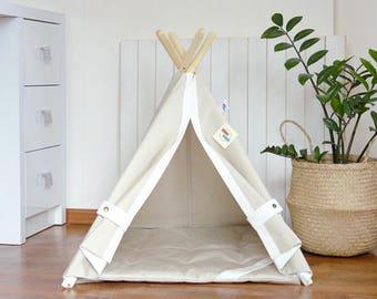 Dog teepee bed, dog teepee, cat teepee, pet teepee bed, dog house, cat house, dog bed, cat bed, dorm decor, pet tent, summer outdoor