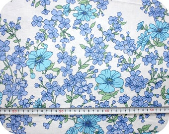 Floral retro vintage fabric - blue and green