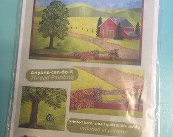 """COUNTRY ROADS Thread Painted Machine Embroidered Pieced Small Quilt 13 x 18"""""""