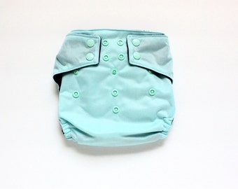 OS Pocket diaper, Aqua, PUL cloth diaper cover, snap closure diaper, 10 to 30 pounds, Light Blue Diaper, diaper