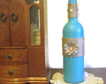 Decorated Wine Bottle Home Decor - Altered Wine Bottle Decor - Recycled Home Decor