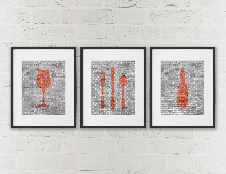 Dining Room Art Kitchen Prints Beer Wine Cutlery Set Of 3