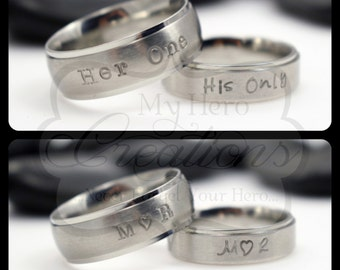 Hand Stamped One and Only Stainless Steel Couples Set