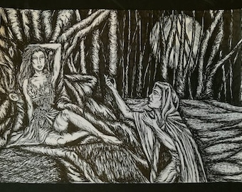 The Elf and the Huntsman, An Original A4 Pen and Ink Fantasy Illustration