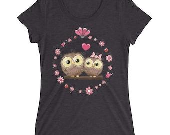 Ladies' short sleeve t-shirt - owl shirt - owl tee shirts - owl tee, owl crop shirt, owl shirt, owl clothes, owl tshirt, ladies owl t shirt