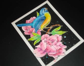Mothers Mom Day Card with Pink Peony and Blue Bird