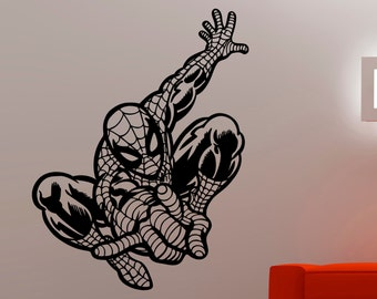 Spiderman Wall Decal Comics Superhero Sticker Vinyl Wall Decoration Kids  Room Decor Removable Mural 2ecc