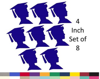 Graduation Centerpiece Picks Party Decorations Boy Silhouette DIY Decorations Party Supply Die Cuts 4 Inch Set of 8 Pick Your School Colors