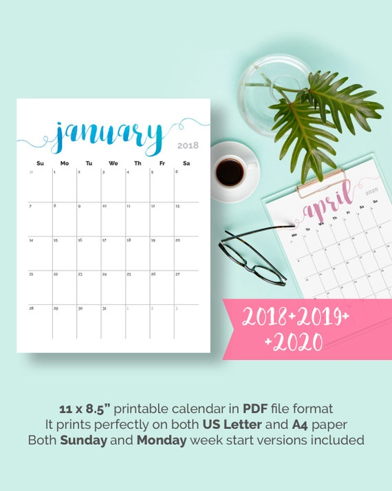 2018 druckbare Schreibtisch Kalender Planer monatlichen