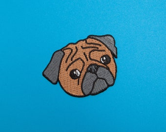 Sad Pug Patch - Made with Vegan Iron-On Adhesive - Embroidery Sewing DIY Customise Denim Cotton Cute Dog Lover Hipster Funny