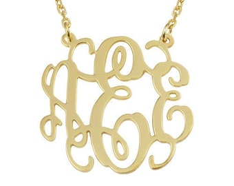 """Monogram gold necklace,1.5""""monogrammed necklace for lovers,personalized monogrammed gift"""