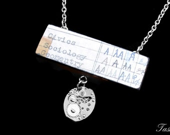 Steampunk Wooden Ephemera Teacher Necklace, Vintage Long Silver Watch Movement Pendant, Antique Report Card, Boho Jewelry