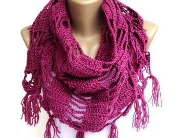 Clothing Gift ,Cowl Scarf ,Fushia Crochet Scarf , Crochet Shawl ,Women Accessories ,Wrap Shawl ,Mom Gifts , Gift For Mom , Gifts For Her