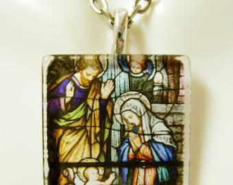 The Nativity stained glass window pendant with chain - GP02-059