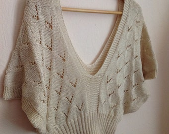 Cream Knit V Back Sweater Wool Crochet Crop Top Beige Medium