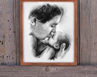 Gifts for New dad gift Dad Gifts for Dad Gifts from Daughter First Fathers day gift First time dad gift Best dad ever Custom Drawing art