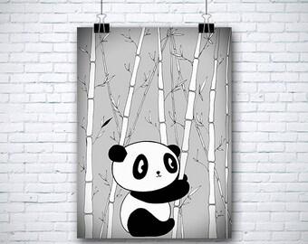 "Original Childrens Drawing -Panda - 8.5x12"" up to 24x34"" Nursery Art Print, Kids Room Wall Decor, Illustration"