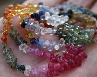 """Gem Songea Multi Sapphire Pink Yellow Sage Green Blue White Tiny Faceted Briolette Drop Beads 2"""" strand 30 teardrop beads"""