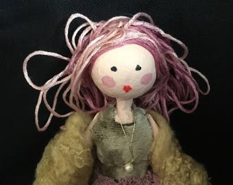 Ooak paper mache art doll with pink hair