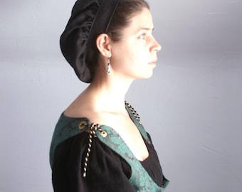 renaissance muffin cap hat medieval caul black linen renaissance faire -ready to ship-
