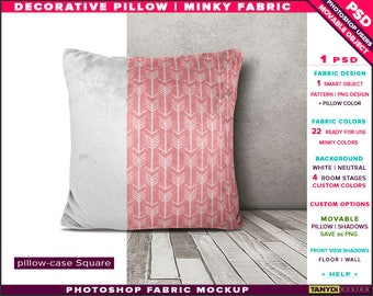 Square Decorative Pillow Minky Fabric | Photoshop Fabric Mockup M9-SM-0 | Cushion on wood floor | Smart Object | 22 ready for use colors