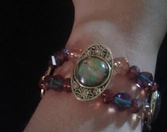 Green/Gold/Brown beaded gem slider bracelet