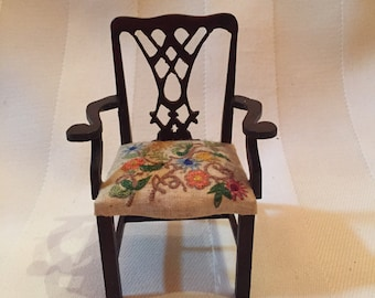 Rare Miniature English Arm Chair with Crewel Embroidered Seat