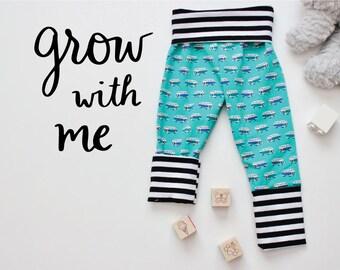 Grow With Me Pants - Baby Toddler Leggings - Camper Van Stripes