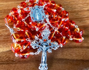 Handmade rosary in orange baroque style czech glass glass beads with ornate immaculate medal center and ornate crucifix