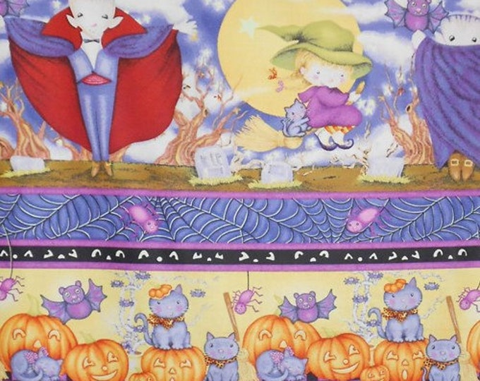 HALLOWEEN FABRIC PANEL, Happy Haunting Halloween Cotton Fabric Multi Stripe by Avlyn