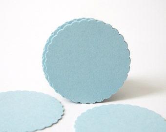 "50 Light Blue Scalloped Circles punch die cut scrapbook embellishments - 1"" circles - No835"
