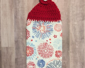 Crocheted Top Dish Towel - Red, White, and Blue  Fireworks
